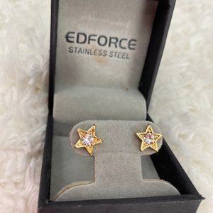 Edforce Gold Star Sparkly Stud Earrings - NEW